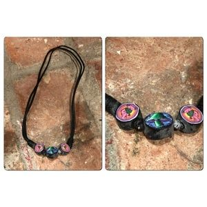 Vtg 90s Grateful Dead Polymer Clay Cord necklace